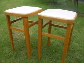 TWO VINTAGE RETRO WOODEN KITCHEN STOOLS ORIGINAL COVERING