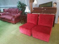 Red crushed velvet chairs