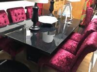 Gorgeous Black Granite Dining Table & 6 Stunning Designer Crushed Velvet Chairs