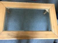Glass and oak coffee table