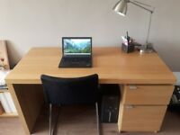 IKEA MALM DESK, Oak Veneer Finish - very good condition