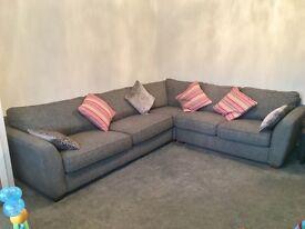 DFS Sophia left hand facing corner sofa in steel grey