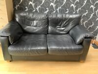 FREE - Black, real leather 2 seater sofa bed
