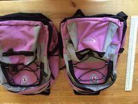 2 children's rucksacks, purple/grey, good condition