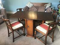 Vintage Drop Leaf Table with storage and 4 Chairs Good condition R381