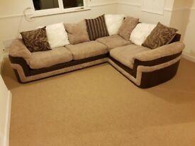 Large brown jumbo cord corner sofa