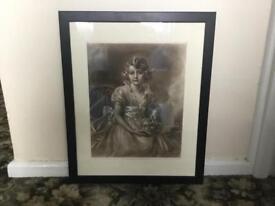 Messotint HRH princess elizabeth without frame