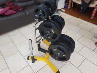 "Brand New BlackBull Fitness® Olympic 2"" Rubber Weights +Triceps bar+Dumbbell +Storage set gym"
