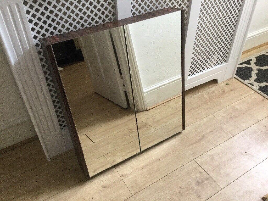 Bathroom Cabinets Gumtree aspen walnut effect 600mm 2 door mirrored bathroom cabinet, never