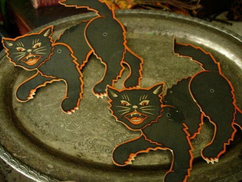 2 Vintage LUHRS Black Cat Jointed Cutout Decoration Card Halloween Decor USA