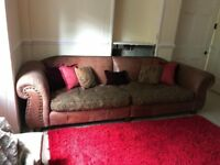 Tetrad vintage design 4 seater leather & fabric sofa. Item located in Beith, 20 mins from Glasgow