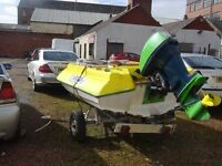 **** swap speedboat for best car or van 55hp YAMAHA ENGINE COMPLETE WITH TRAILER READY TYO GO ***