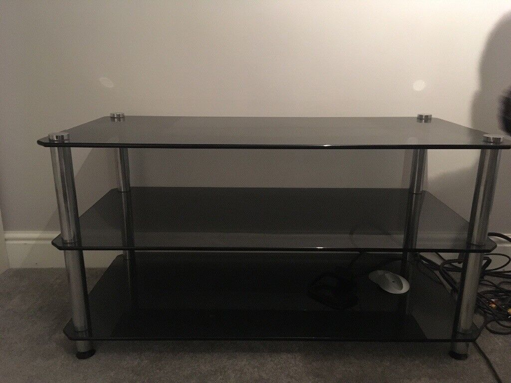 Black frosted glass tv stand