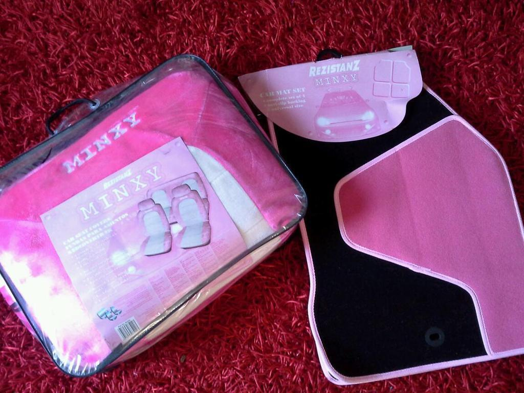Minxy Pink Fluffy Car Seat Covers Mats