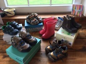 Boys first shoes/ boots/ sandles/ wellies. Bundle of 4 and 4.5 size.