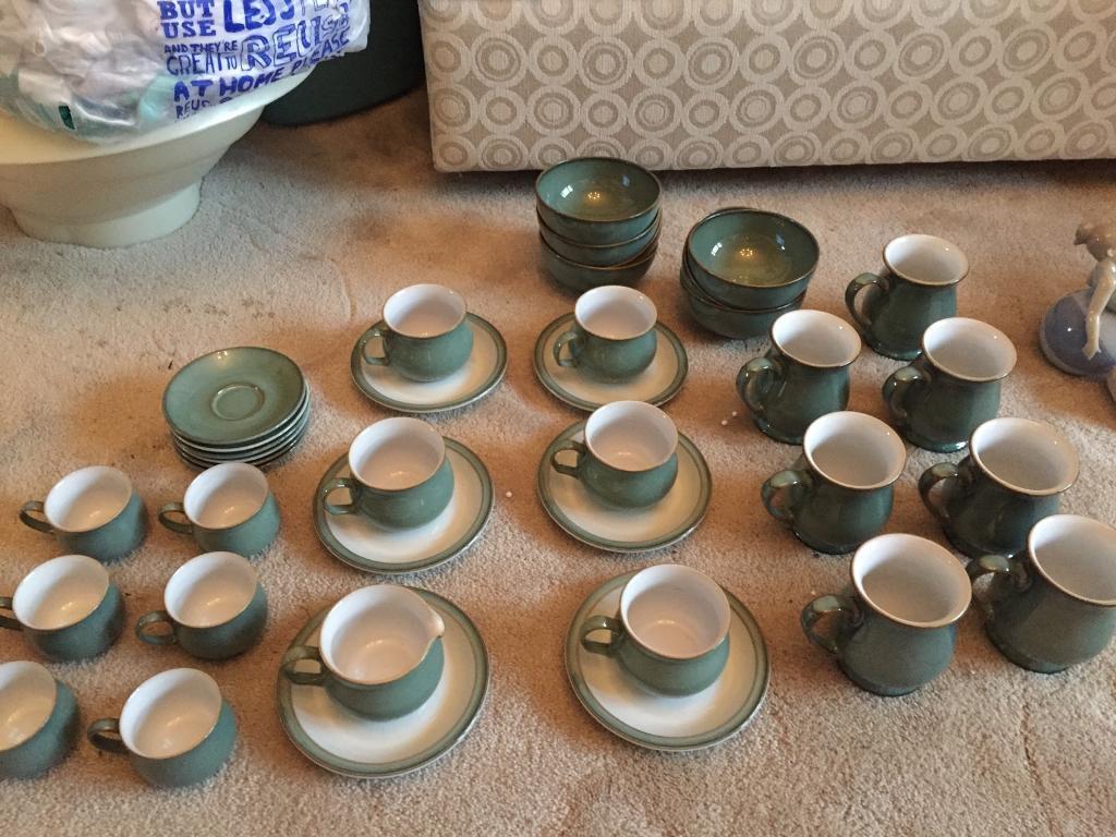Denby regency green craftsman's mugs, cups, saucers, bowls