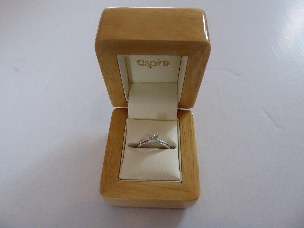 Certified, 0.51ct Princess Cut Diamond Solitaire, Platinum Shoulder Set Ring