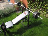 York 501 Bench and Weights
