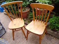 Pine chair x 2, different