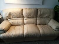 Large leather 3 seater recliner sofa