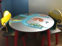 Car themed wooden table and chairs