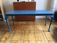 Lovely Shabby Chic Blue coffee/side table elegant legs - could be repainted - MUST GO by weekend!