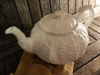Countryware by Wedgwood Coalport White Embossed Leaves Teapot and Lid