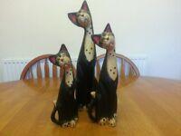 SET OF 3 TALL WOODEN CAT ORNAMENTS