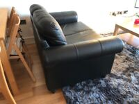 Black leather 3 seat and 2 seat sofas