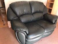 Dark Green - Leather Effect Small Sofa