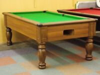 Walnut Turned Leg Pool Table & Snooker Table (7x4 Slate Bed)