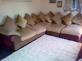 Dfs corner sofa beautiful and two large pouffes which can be added to make sofa even larger