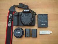 Canon 7D Digital SLR Camera+ Canon 1.8 50mm Lens + 32GB Card and Reader + Batteries Bundle
