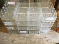 Plastic storage trays with dividers