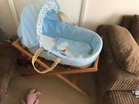 New Moses basket with stand and fitted sheets