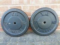 25KG CAST IRON TRI GRIP OR YORK WEIGHT PLATES