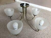 Brass effect chandelier: 5-bulb light fittings (x 5), 3-bulb light fitting (x 1)