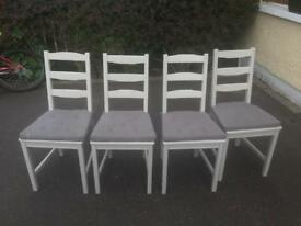 4 grey wooden dining chairs