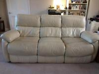 Cream leather sofa and 2 reclining chairs
