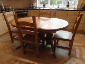 Extending Pine Dining Table And Four Chairs