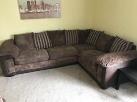 Fabric/leather corner couch and 3 seater sofa. Perfect condition. Uplift only.