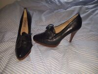 Leather black heels- size 7