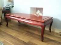 3 Dark wood coffee tables,nest of 2 small side tables and 1 carved side table-excellent condition
