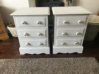Two bedside tables ready to be shabby chic