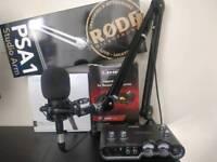 Audio-Technica At2035 + Line 6 Ux2 USB interface + Rode PSA1 mic boom full microphone setup