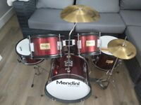 Junior Mendini by Cecilo 5 piece drum set with symbols, stool and sticks