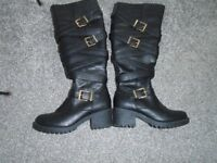 JOE BROWN BLACK LEATHER BOOTS SIZE 4