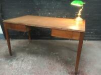 Fabulous vintage oak desk with tooled leather top and two drawers