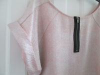 LADIES PINK SHIMMERY RIVER ISLAND TOP - SIZE 12-14 - EXC. COND