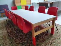 Ikea childrens wooden tables with white top x 2